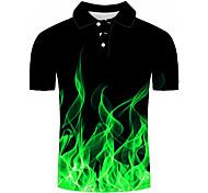 abordables -Homme Chemise de golf 3D effet Géométrique Impression 3D Imprimé Manches Courtes Décontracté Hauts Simple Mode Noir