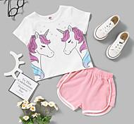 economico -Bambino Bambino (1-4 anni) Da ragazza Completo Manica corta Rosa Pop art Con stampe Da tutti i giorni Attivo Standard Sopra il ginocchio 2-8 anni
