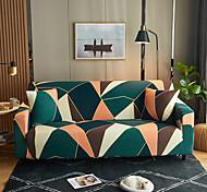 abordables -Triangle géométrique vert imprimé housses tout-puissantes anti-poussière housse de canapé extensible housse de canapé en tissu super doux avec une taie d'oreiller gratuite