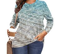 abordables -Femme Grande taille Imprimé Graphique Paysage Vagues T-shirt Grande taille Col Rond Manches Longues Hauts XL XXL 3XL Bleu Grande taille / Grandes Tailles