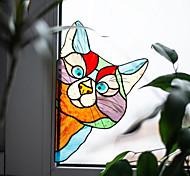 abordables -Autocollant mural de décoration de la maison en pvc pré-collé 1pc autocollant de fenêtre animal
