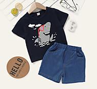 economico -Bambino Bambino (1-4 anni) Da ragazza Completo Manica corta Nero Pop art Con stampe Da tutti i giorni Attivo Standard Sopra il ginocchio 2-8 anni