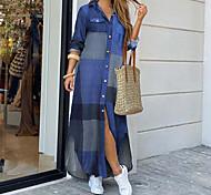 economico -Per donna Abito chemisier Vestito maxi Blu Rosso Giallo Fucsia Manica lunga Con stampe Collage Autunno Primavera Colletto caldo Sensuale Cotone 2021 S M L XL XXL 3XL