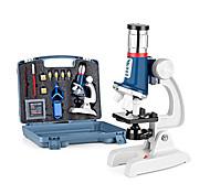 economico -Kit scientifico 100x-1200x per microscopio per bambini con microscopio con corpo in metallo, diapositive in plastica, luce a led e scatola per il trasporto, kit per esperimenti scientifici giocattoli