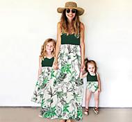 abordables -Maman et moi Lots de Vêtements pour Famille Robe Graphique Sans Manches Imprimé Vert Claire Maxi Eté