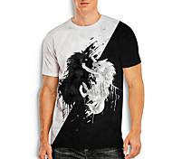 abordables -T-shirt Homme Imprimés Photos Lion Impression 3D Imprimé Quotidien Manches Courtes Hauts Simple Designer Grand et grand Noir / Blanc