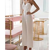 abordables -Combinaisons Robes de mariée Coeur Longueur Cheville Satin extensible Sans Manches Simple Pour tous les jours Élégant avec Ceinture en étoffe 2021