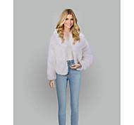 economico -Per donna Tinta unita Essenziale Cappotto di pelliccia sintetica Corto Quotidiano Manica lunga Pelliccia sintetica Cappotto Top Bianco