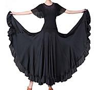abordables -Danse de Salon Costumes de Danse Jupes Strass Couleur Unie Femme Entraînement Utilisation Manches Courtes Taille haute Fibre de Lait