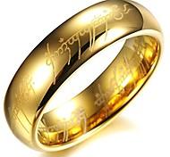 economico -shardon anello da uomo in tungsteno a cupola con placcatura in oro da 6 mm il signore degli anelli con mordor inciso in nero taglia 6