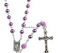 economico -collana rosario perle cattoliche nostre rose medaglia lourdes e croce ns