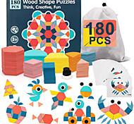 abordables -180pcs blocs de motif en bois pour enfants motif de puzzle de forme jouer des puzzles de tangram pour les enfants âgés de 4 à 8 formes géométriques pour enfants préscolaire maternelle jouets