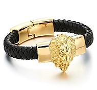 economico -grande bracciale da uomo in pelle intrecciata con leone in acciaio color oro e cinturini in vera pelle nera