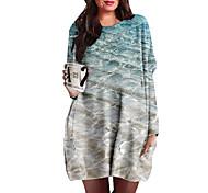 abordables -Femme Grande taille Robes Robe Droite Robe courte courte Manches Longues Imprimé Bloc de Couleur Imprimé Simple Automne Bleu XL XXL 3XL 4XL 5XL / Grandes Tailles / Grandes Tailles