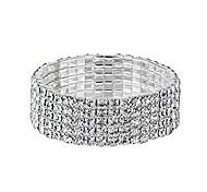 economico -yinli argento 5 file di strass di cristallo elastico braccialetto da tennis da sposa braccialetto da damigella d'onore (5 file d'argento)