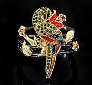 economico -Anello Zirconi Stile vintage Nero Ottone Uccello Fiore decorativo Palla Artistico Asiatico Stile Folk 1 pc 6 7 8 9 10 / Per donna