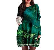 abordables -Femme Grande taille Robes Robe Droite Robe courte courte Manches Longues Imprimé Bloc de Couleur Imprimé Simple Printemps & Automne Vert XL XXL 3XL 4XL 5XL / Grandes Tailles / Grandes Tailles