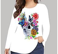 abordables -Femme Grande taille Imprimé Graphique Fleurie Crânes T-shirt Grande taille Col Rond Manches Longues Hauts XL XXL 3XL Rouge Vert Grande taille / Grandes Tailles