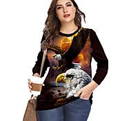 abordables -Femme Grande taille Imprimé Graphique Animal T-shirt Grande taille Col Rond Manches Longues Chic de Rue Hauts XL XXL 3XL Blanche Bleu Rouge Grande taille / Grandes Tailles