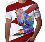 abordables -T-shirt Homme Imprimés Photos Portrait Impression 3D Imprimé Quotidien Manches Courtes Hauts Simple Designer Grand et grand Rouge / Blanc