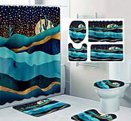 abordables -belles montagnes motif impression salle de bain rideau de douche toilettes de loisirs conception quatre pièces