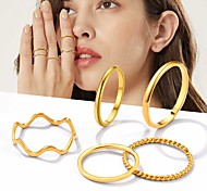 economico -Anello Oro Argento Acciaio al titanio Alla moda Semplice 8 pezzi Regolabile / Per donna