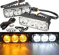 abordables -otolampara 1 paire de voiture led blanc drl& Lampe de clignotant ambre feux diurnes 12w nouvelle lampe élégante de rétrofit de voiture led drl