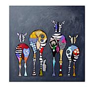 economico -Hang-Dipinto ad olio Dipinta a mano Quadrato Astratto Animali Moderno Senza telaio interno  (senza cornice)