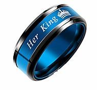 abordables -sa reine son roi couronne alliances pour couples acier inoxydable bleu violet bague de fiançailles pour lui et lui roi reine, taille 9