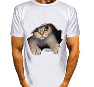 abordables -Homme T-shirt Impression 3D Chat Imprimés Photos Animal 3D Imprimé Manches Courtes Quotidien Hauts basique Simple Blanche Bleu Violet
