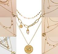 abordables -Chaîne Collier Collier Multirang Femme Mode Dorée 40-50 cm Colliers Tendance Bijoux 1 pc pour