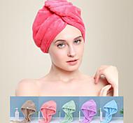 abordables -Litb Basic Bathroom Soft Coral Fleece Hair Wraps Serviette à séchage rapide Couleur unie Confortable Serviettes de bain quotidiennes à la maison 1 pcs
