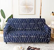 abordables -1 pc housse de canapé couleur géométrique bleu lignes blanches élastique salon canapé pour animaux de compagnie housse de protection inclinable