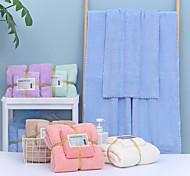 abordables -litb basic salle de bain serviette de bain absorbante douce et serviette à main confortable en molleton de corail serviettes de bain quotidiennes de couleur unie pour la maison 2 pièces dans 1 ensemble 70 * 140 & 35 * 75cm