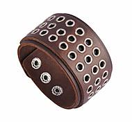economico -polsino con fibbia in lega hip hop nsitbbuery braccialetto con polsino in pelle largo cerchio vuoto (marrone)