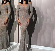 abordables -Femme Robe Fourreau Robe longue maxi Argent Manches Longues Couleur unie Paillettes Automne Col Rond chaud Sexy 2021 S M L XL XXL