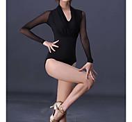abordables -Danse latine Costumes de Danse Collant / Combinaison Couleur Unie Femme Entraînement Utilisation Manches Longues Taille haute Fibre de Lait