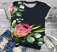 abordables -Femme Grande taille Imprimé Graphique Fleurie T-shirt Grande taille Col Rond Manches Courtes Hauts XL XXL 3XL Bleu Marine Grande taille / Grandes Tailles