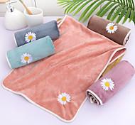abordables -litb basic serviette de bain en molleton de corail doux mignonne broderie de fleurs de marguerite couleur unie confortable absorbant quotidien serviettes de lavage à la maison 1 pcs 35 * 75 cm