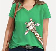 abordables -Femme Grande taille Imprimé Graphique Girafe Animal T-shirt Grande taille Col en V Manches Courtes Hauts XL XXL 3XL Blanche Bleu Jaune Grande taille / 100% Coton / Grandes Tailles