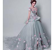 abordables -Robe de Soirée Elégant Fleur Fiançailles robe ceremonie Robe Bijoux Manches Courtes Traîne Tribunal Tulle avec Broderie Appliques 2021