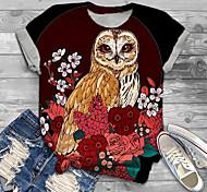 abordables -Femme Grande taille Imprimé Graphique Tribal Animal T-shirt Grande taille Col Rond Manches Courtes Hauts XL XXL 3XL Rouge Grande taille / Grandes Tailles