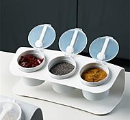 abordables -boîte d'assaisonnement ensemble à trois compartiments combinaison de cuisine salière en plastique boîte de rangement d'assaisonnement étanche à l'humidité