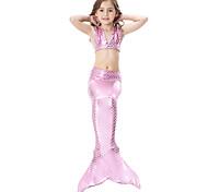 abordables -maillot de bain enfant fille bikini 3pcs maillot de bain queue de sirène la petite sirène couleur mélangée sans manches bleu violet rougissant rose costumes de plage de sport princesse mignons maillots de bain 3-10 ans