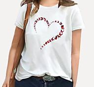 abordables -Femme Grande taille Imprimé Graphique Cœur Fleurie T-shirt Grande taille Col Rond Manches Courtes Hauts XL XXL 3XL Blanche Noir Bleu Grande taille / 100% Coton / Grandes Tailles