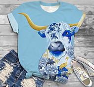 abordables -Femme Grande taille Imprimé Graphique Bétail Animal T-shirt Grande taille Col Rond Manches Courtes Hauts XL XXL 3XL Bleu Grande taille / Grandes Tailles