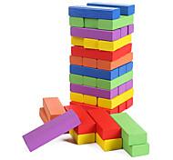 economico -blocchi di legno, gioco impilato, altezza di impilamento, torre rovesciata, colori misti, (48 pezzi)