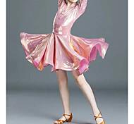 abordables -Danse latine Costumes de Danse Robe Boutons Couleur Unie Femme Fille Entraînement Utilisation Manches 3/4 Taille haute Coton