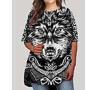 abordables -Femme Grandes Tailles Graphique Animal Imprimé Simple Demi Manches Automne Robe courte courte Robe T shirt Noir