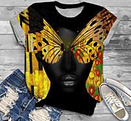 abordables -Femme Grande taille Imprimé Graphique Papillon Animal T-shirt Grande taille Col Rond Manches Courtes Hauts XL XXL 3XL Noir Grande taille / Grandes Tailles